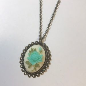 Antique gold and teal vintage style necklace